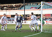 Dundee&rsquo;s Kane Hemmings heads home his side's equaliser  - Dundee v Inverness Caledonian Thistle - Ladbrokes Scottish Premiership at Dens Park<br /> <br />  - &copy; David Young - www.davidyoungphoto.co.uk - email: davidyoungphoto@gmail.com