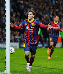 Barcelona Midfielder Lionel Messi (ARG) celebrates scoring a goal from a penalty - Photo mandatory by-line: Rogan Thomson/JMP - Tel: 07966 386802 - 18/02/2014 - SPORT - FOOTBALL - Etihad Stadium, Manchester - Manchester City v Barcelona - UEFA Champions League, Round of 16, First leg.