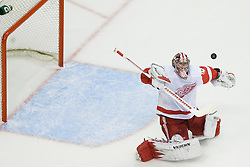 Jimmy Howard (Detroit Red Wings, #35) blocks the puck during ice-hockey match between Los Angeles Kings and Detroit Red Wings in NHL league, February 28, 2011 at Staples Center, Los Angeles, USA. (Photo By Matic Klansek Velej / Sportida.com)