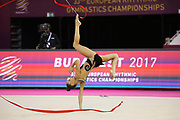 Dina Averring, Russia, takes gold on ribbon during the 33rd European Rhythmic Gymnastics Championships at Papp Laszlo Budapest Sports Arena, Budapest, Hungary on 21 May 2017. Photo by Myriam Cawston.