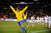Kaka of Brazil celebrates after thinking he had scored but the ball did not cross the line