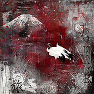 Two cranes on a deep red background with white and grey plant and mountain elements, paint strokes, splatters and typography