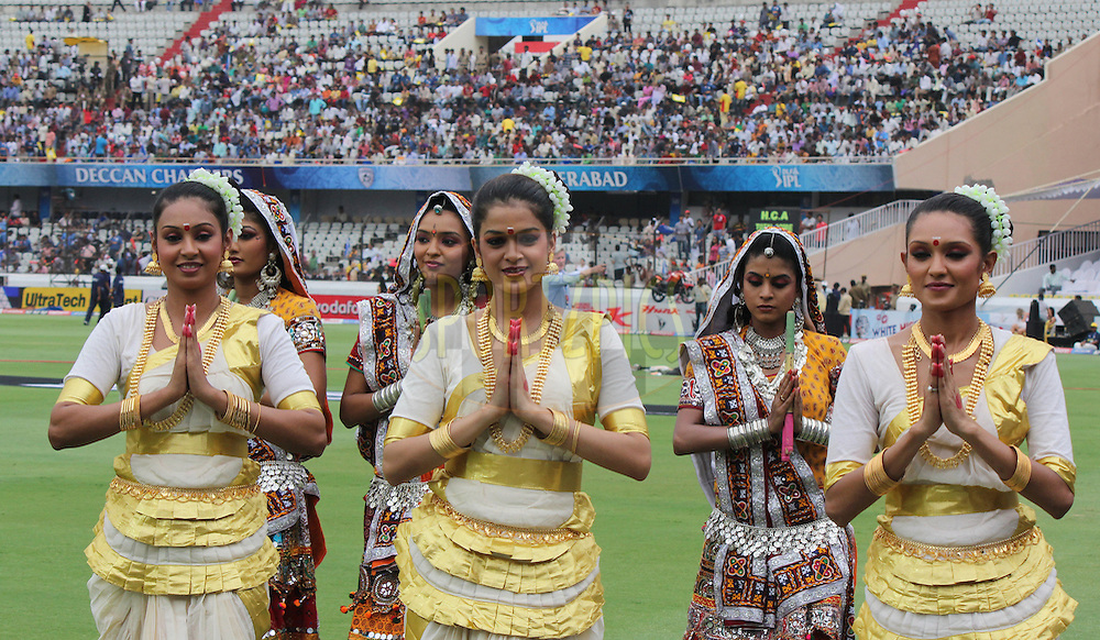 Cheer girls of Pune Warriors during match 53 of the Indian Premier League ( IPL ) between the Deccan Chargers and the Pune Warriors India held at the Rajiv Gandhi International Cricket Stadium in Hyderabad on the 10th May 2011..Photo by Parth Sanyal/BCCI/SPORTZPICS