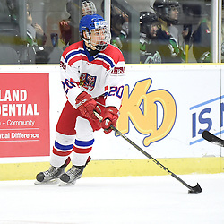 COBOURG, - Dec 18, 2015 -  WJAC Game 11- Team Czech Republic vs Team Switzerland at the 2015 World Junior A Challenge at the Cobourg Community Centre, ON. Tomas Havranek #20 of Team Czech Republic skates with the puck during the third period.<br /> (Photo: Andy Corneau / OJHL Images)