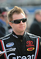 Feb. 20, 2010; Fontana, CA, USA; NASCAR Nationwide Series driver Jason Leffler during qualifying at the Slaters Brothers 300 at Auto Club Speedway. Mandatory Credit: Jennifer Stewart-US PRESSWIRE