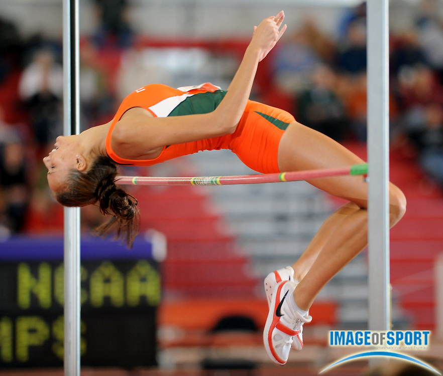 Mar 14, 2008; Fayetteville, AR, USA; Viktoria Andonova of Miami was ninth in the women's high jump at 5-10 3/4 (1.80m) in the NCAA indoor track and field championships at the Randal Tyson Center.