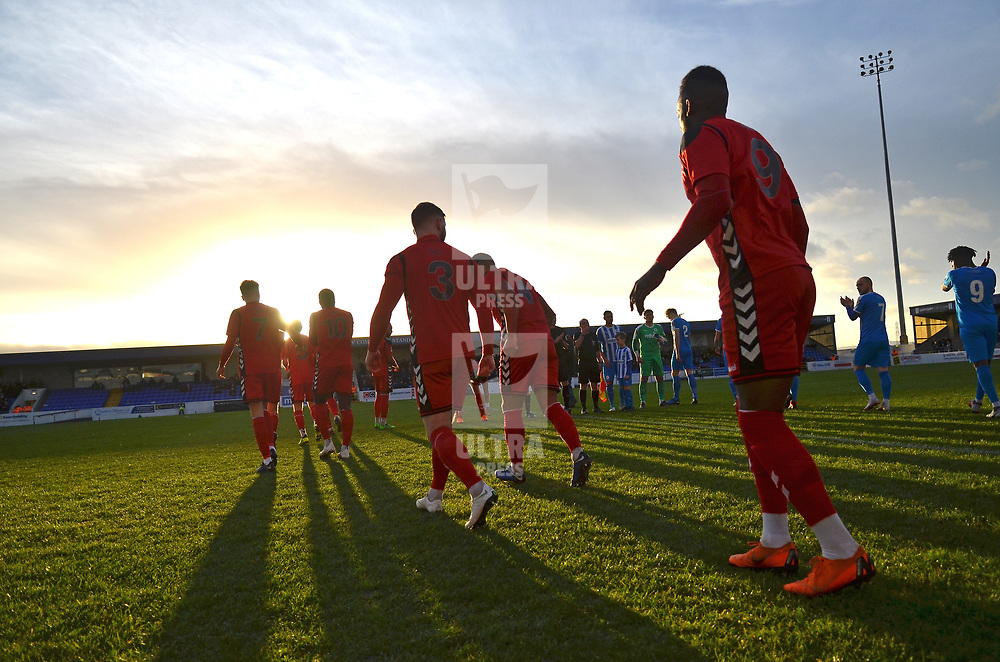 TELFORD COPYRIGHT MIKE SHERIDAN 22/12/2018 - AFC Telford players take the field during the Vanarama Conference North fixture between Chester FC and AFC Telford United at the Swansway Deva Stadium, Chester.