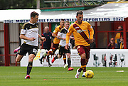 Scott McDonald out running Ryan Jack during the Ladbrokes Scottish Premiership match between Motherwell and Aberdeen at Fir Park, Motherwell, Scotland on 15 August 2015. Photo by Craig McAllister.