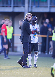 Hearts Head Coach Robbie Neilson with Hearts Morgaro Gomis. <br /> Alloa Athletic 0 v 1 Hearts, Scottish Championship played at Recreation Park, Alloa.