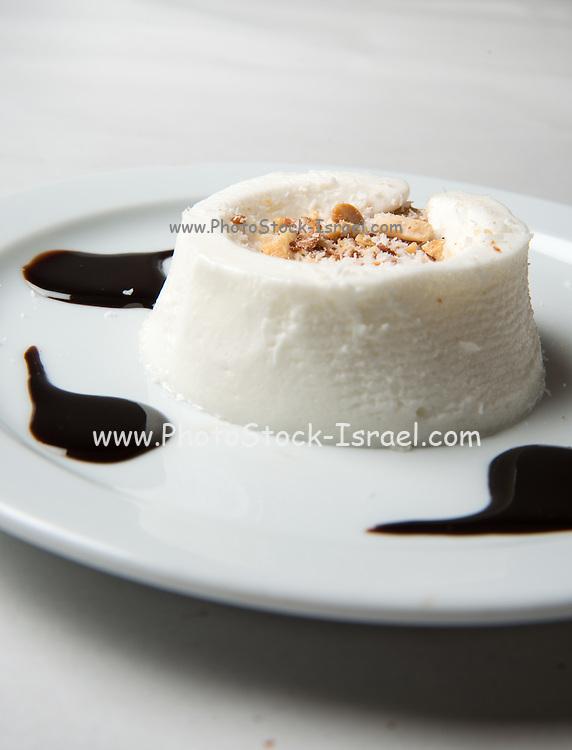 Bavarian cream (Creme bavaroise) topped with chocolate sauce