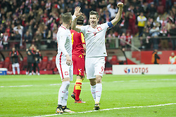 October 8, 2017 - Warsaw, Poland - Robert Lewandowski and Piotr Zielinski celebrate scoring during the FIFA World Cup 2018 Qualifying Round Group E match between Poland and Montenegro at National Stadium in Warsaw, Poland on October 8, 2017  (Credit Image: © Andrew Surma/NurPhoto via ZUMA Press)