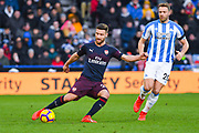 Shkodran Mustafi of Arsenal (20) in action during the Premier League match between Huddersfield Town and Arsenal at the John Smiths Stadium, Huddersfield, England on 9 February 2019.