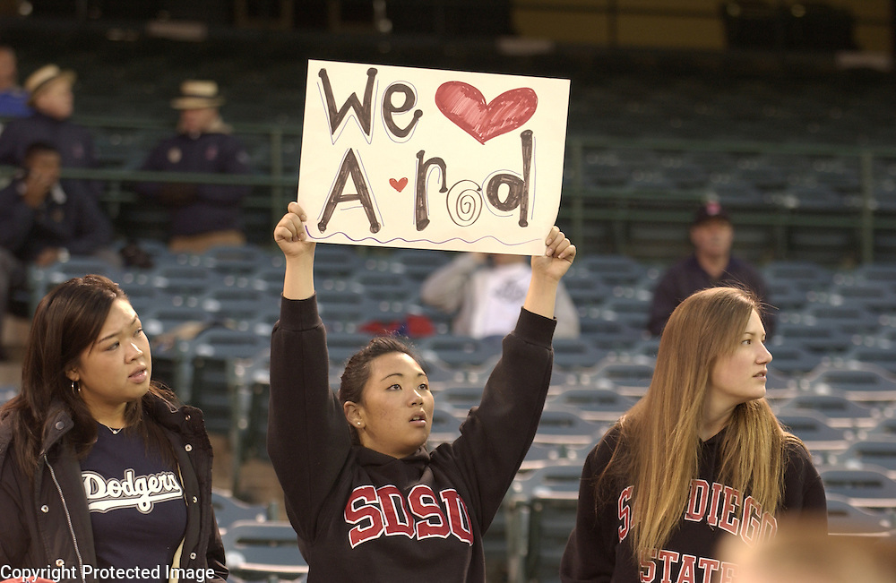 Team USA fans show support for Alex Rodriguez before the start of Round 2 action matching Team USA and Team Korea at Angel Stadium of Anaheim.
