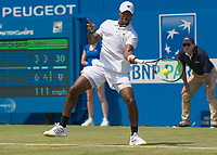 Tennis - 2017 Aegon Championships [Queen's Club Championship] - Day Three, Wednesday<br /> <br /> Men's Singles, Round of 16 -Viktor TROICKI (SRB) Vs Donald YOUNG (USA)<br /> <br /> Donald Young (USA) in action on centre court at Queens club<br /> <br /> <br /> COLORSPORT/DANIEL BEARHAM