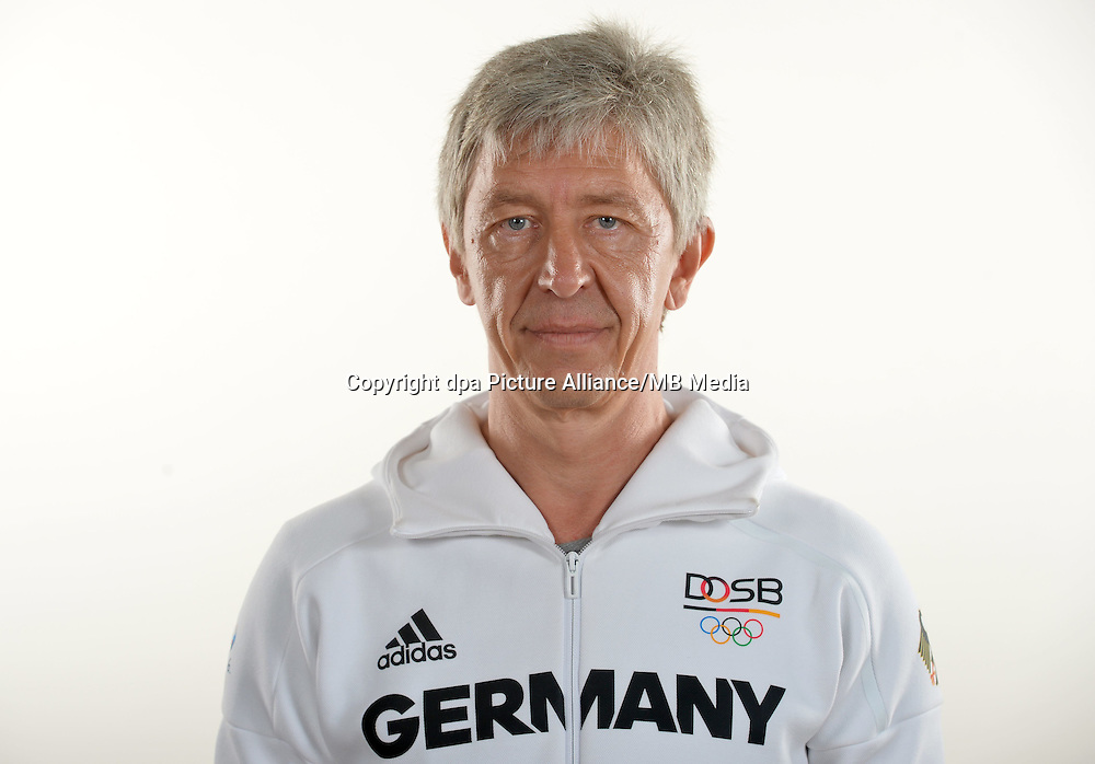 Michael Schmidt poses at a photocall during the preparations for the Olympic Games in Rio at the Emmich Cambrai Barracks in Hanover, Germany. July 25, 2016. Photo credit: Frank May/ picture alliance.   usage worldwide