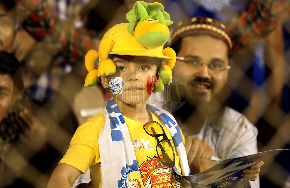 aA kid enjoys during match 22 of the Pepsi IPL 2015 (Indian Premier League) between The Rajasthan Royals and The Royal Challengers Bangalore held at the Sardar Patel Stadium in Ahmedabad , India on the 24th April 2015.<br /> <br /> Photo by:  Sandeep Shetty / SPORTZPICS / IPL