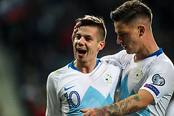 Miha Zajc of Slovenia and Benjamin Verbic of Slovenia celebrates after scoring a goal during football match between National teams of Slovenia and North Macedonia in Group G of UEFA Euro 2020 qualifications, on March 24, 2019 in SRC Stozice, Ljubljana, Slovenia. Photo by Matic Klansek Velej / Sportida