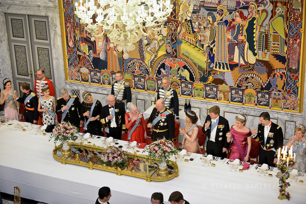 15.04.2015. Copenhagen, Denmark.<br /> Crown Princess Mary, Henri Grand Duke of Luxembourg, Queen Letizia, King Philippe, Queen Maxima, King Carl XVI Gustaf of Sweden, Queen Margrethe II, King Harald of Norway, Queen Silvia of Sweden, King Willem-Alexander of The Netherlands, Queen Mathilde of Belgium, King Felipe of Spain and Anne-Marie of Greece<br /> during a Gala Dinner at Christiansborg Palace on the eve of The 75th Birthday of Queen Margrethe of Denmark.<br /> Photo:© Ricardo Ramirez