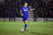 AFC Wimbledon defender Barry Fuller (2) dribbling during the The FA Cup third round replay match between AFC Wimbledon and Sutton United at the Cherry Red Records Stadium, Kingston, England on 17 January 2017. Photo by Matthew Redman.