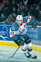 KELOWNA, CANADA - APRIL 8: Rodney Southam #17 of the Kelowna Rockets skates against the Portland Winterhawks on April 8, 2017 at Prospera Place in Kelowna, British Columbia, Canada.  (Photo by Marissa Baecker/Shoot the Breeze)  *** Local Caption ***