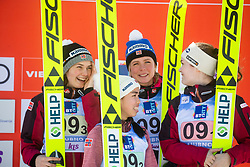 STROEM Anna Odine, BJOERSETH Thea Minyan, OPSETH Silje , LUNDBY Maren (NOR)  celebrates after Day 1 of FIS Ski Jumping World Cup Ladies Ljubno 2020, on February 22th, 2020 in Ljubno ob Savinji, Ljubno ob Savinji, Slovenia. Photo by Matic Ritonja / Sportida