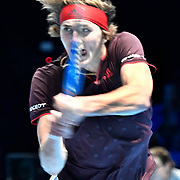 12.11.2017 ATP World Tour Finals at O2 Arena London UK  Alexander Zverev GER v Marin Cilic CRO  Zverev in action during the match