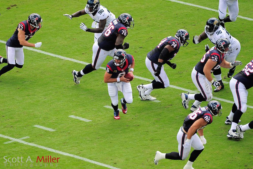 Houston Texans quarterback Matt Schaub (8) and the offinsive line during the NFL game between the Texans and the Jacksonville Jaguars, at EverBank Field on September 16, 2012 in Jacksonville, Florida. The Texans won 27-7...©2012 Scott A. Miller.