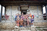 School photo groupshot in Zangkhar village, Bhutan, Asia