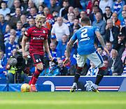 9th September 2017, Ibrox Park, Glasgow, Scotland; Scottish Premier League football, Rangers versus Dundee; Dundee's A-Jay Leitch-Smith and Rangers' James Tavernier