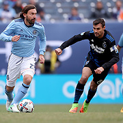 NEW YORK, NEW YORK - April 12:  Andrea Pirlo #21 of New York City FC is challenged by Chris Wondolowski #8 of San Jose Earthquakes during the New York City FC Vs San Jose Earthquakes regular season MLS game at Yankee Stadium on April 1, 2017 in New York City. (Photo by Tim Clayton/Corbis via Getty Images)