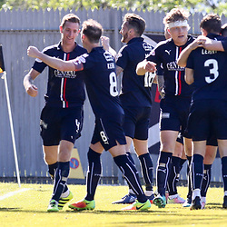 Falkirk players celebrate their goal  during the Dumbarton v Falkirk Scottish Championship 06 May 2017<br /> <br /> <br /> <br /> <br /> <br /> (c) Andy Scott | SportPix.org.uk