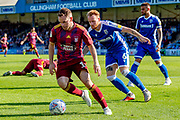 Ipswich Town midfielder Alan Judge (18) and Gillingham FC defender Connor Ogilvie (6) during the EFL Sky Bet League 1 match between Gillingham and Ipswich Town at the MEMS Priestfield Stadium, Gillingham, England on 21 September 2019.