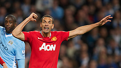 MANCHESTER, ENGLAND - Monday, April 30, 2012: Manchester United's Rio Ferdinand shows his exasperation during the Premiership match against Manchester City at the City of Manchester Stadium. (Pic by David Rawcliffe/Propaganda)