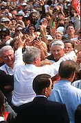 US President Bill Clinton greets supporters during a campaign stop on their bus tour August 30, 1996 in Cape Girardeau. MO.