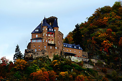A castle on a hill along the Rhine River.