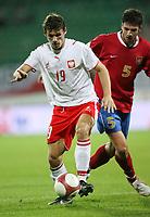 Fotball<br /> EM-kvalifisering<br /> 06.09.2006<br /> Polen v Serbia<br /> Foto: Wrofoto/Digitalsport<br /> NORWAY ONLY<br /> <br /> RADOSLAW MATUSIAK /L/ OF POLAND AND MILAN STEPANOV /R/ OF SERBIA