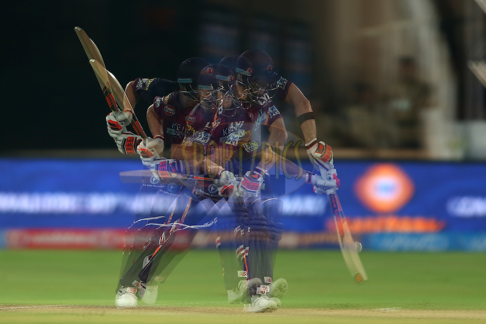 A multiple exposure of Steven Smith of Rising Pune Supergiants plays a delivery during match 22 of the Vivo IPL 2016 (Indian Premier League) between the Sunrisers Hyderabad and the Rising Pune Supergiants held at the Rajiv Gandhi Intl. Cricket Stadium, Hyderabad on the 26th April 2016<br /> <br /> Photo by Shaun Roy / IPL/ SPORTZPICS