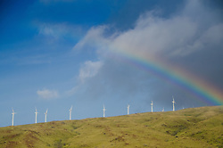 Rainbow and Wind Turbines, Maui, Hawaii, US