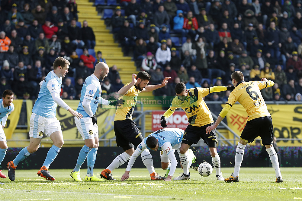 (L-R) Patrick Banggaard of Roda JC, Dani Schahin of Roda JC, Pablo Mari Villar of NAC Breda, Chris Kum of Roda JC, Rai Vloet of NAC Breda, Arno Verschueren of NAC Breda during the Dutch Eredivisie match between NAC Breda and Roda JC Kerkrade at the Rat Verlegh stadium on March 18, 2018 in Breda, The Netherlands