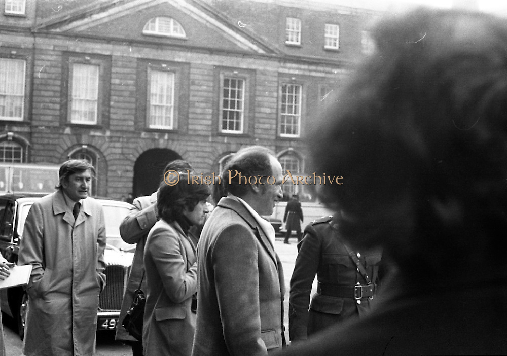 Canadian Prime Minister, Pierre Trudeau arrives in Dublin    (J17).14.03.1975.03.14.1975.3rd April 1975..Pierre Trudeau arrived today for a brief visit to Ireland. He was greeted by the Taoiseach Mr. Liam Cosgrave on his arrival at Dublin Airport..Picture of Prime Minister Trudeau arriving at Dublin Castle as part of his visit to Ireland.