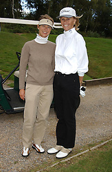 Left to right, KATRIN BRUGELMANN and CAROLYN WATERS at the Laurent-Perrier charity golf day held at Foxhills golf Club, Surrey in aid of the charity CLIC on 14th September 2004.<br />