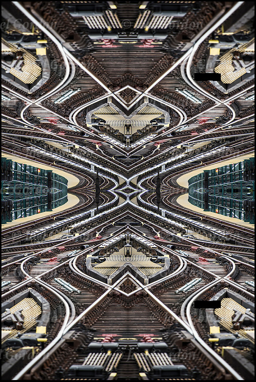 Photographic series of digital computer art from an image of Subway railroadtracks. <br /> <br /> Tribute to M.C.Escher's 1953 Lithograph Relativity. <br /> <br /> Two or more layers were used to enhance, alter, manipulate the image, creating an abstract surrealistic mirrored symmetry.
