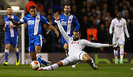 Sandro of Tottenham Hotspur (right) tackles Matheus Nascimento of Dnipro Dnipropetrovsk during the UEFA Europa League match at White Hart Lane, London<br /> Picture by David Horn/Focus Images Ltd +44 7545 970036<br /> 27/02/2014