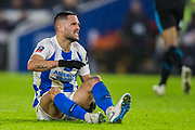 Florin Andone (Brighton) injured during the FA Cup fourth round match between Brighton and Hove Albion and West Bromwich Albion at the American Express Community Stadium, Brighton and Hove, England on 26 January 2019.