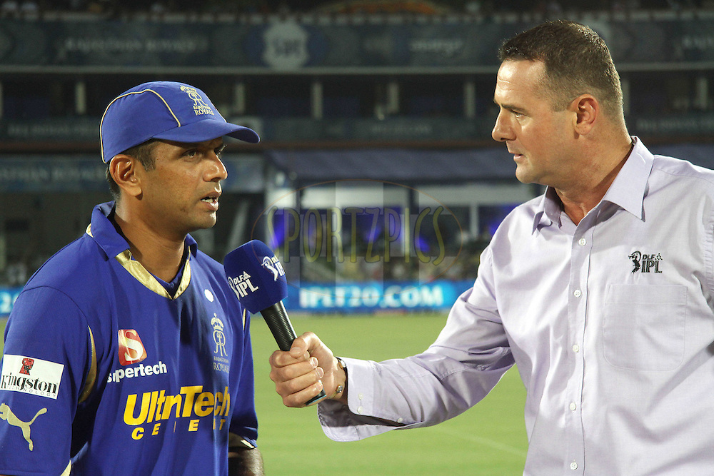 Rajasthan Royals captain Rahul Dravid is interviewed by Simon Doull during match 30 of the the Indian Premier League (IPL) 2012  between The Rajasthan Royals and the Royal Challengers Bangalore held at the Sawai Mansingh Stadium in Jaipur on the 23rd April 2012..Photo by Shaun Roy/IPL/SPORTZPICS
