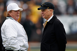 OAKLAND, CA - DECEMBER 09: Owner Mark Davis of the Oakland Raiders talks to owner Art Rooney II of the Pittsburgh Steelers before the game at the Oakland Coliseum on December 9, 2018 in Oakland, California. The Oakland Raiders defeated the Pittsburgh Steelers 24-21. (Photo by Jason O. Watson/Getty Images) *** Local Caption *** Mark Davis; Art Rooney II