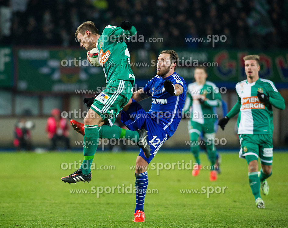 24.01.2015, Ernst Happel Stadion, Wien, AUT, FS Vorbereitung, Fußball Testspiel, SK Rapid Wien vs FC Schalke 04, im Bild Stefan Stangl, (SK Rapid Wien, #23) und Marco Höger (FC Schalke 04) // during a international football frindly match between SK Rapid Vienna and FC Schalke 04 at the Ernst Happel Stadium, Vienna, Austria on 2015/01/24. EXPA Pictures © 2015, PhotoCredit: EXPA/ Michael Gruber