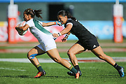 DUBAI, UNITED ARAB EMIRATES - Thursdays 30 November 2017, Mathrin Simmers of South Africa tries to get away from Stacey Waaka of New Zealand during HSBC Emirates Airline Dubai Rugby Sevens match between South Africa and New Zealand at The Sevens Stadium in Dubai.<br /> Photo by Roger Sedres/ImageSA