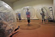 Bubble soccer in Waxiatchi, Texas on May 9, 2014.