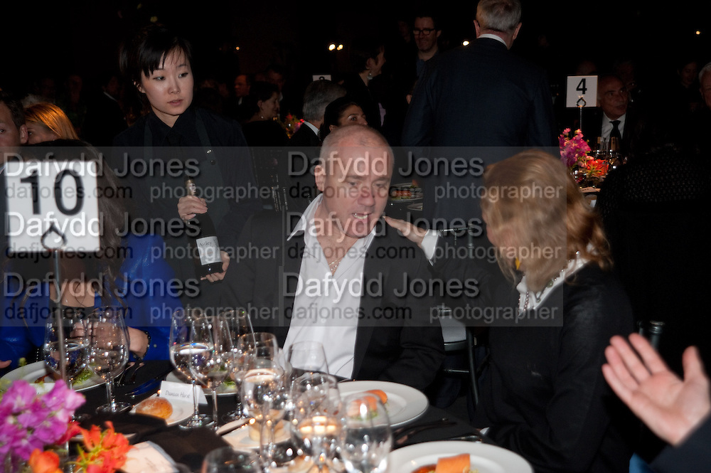 DAMIEN HIRST; MIUCCIA PRADA Damien Hirst, Tate Modern: dinner. 2 April 2012.